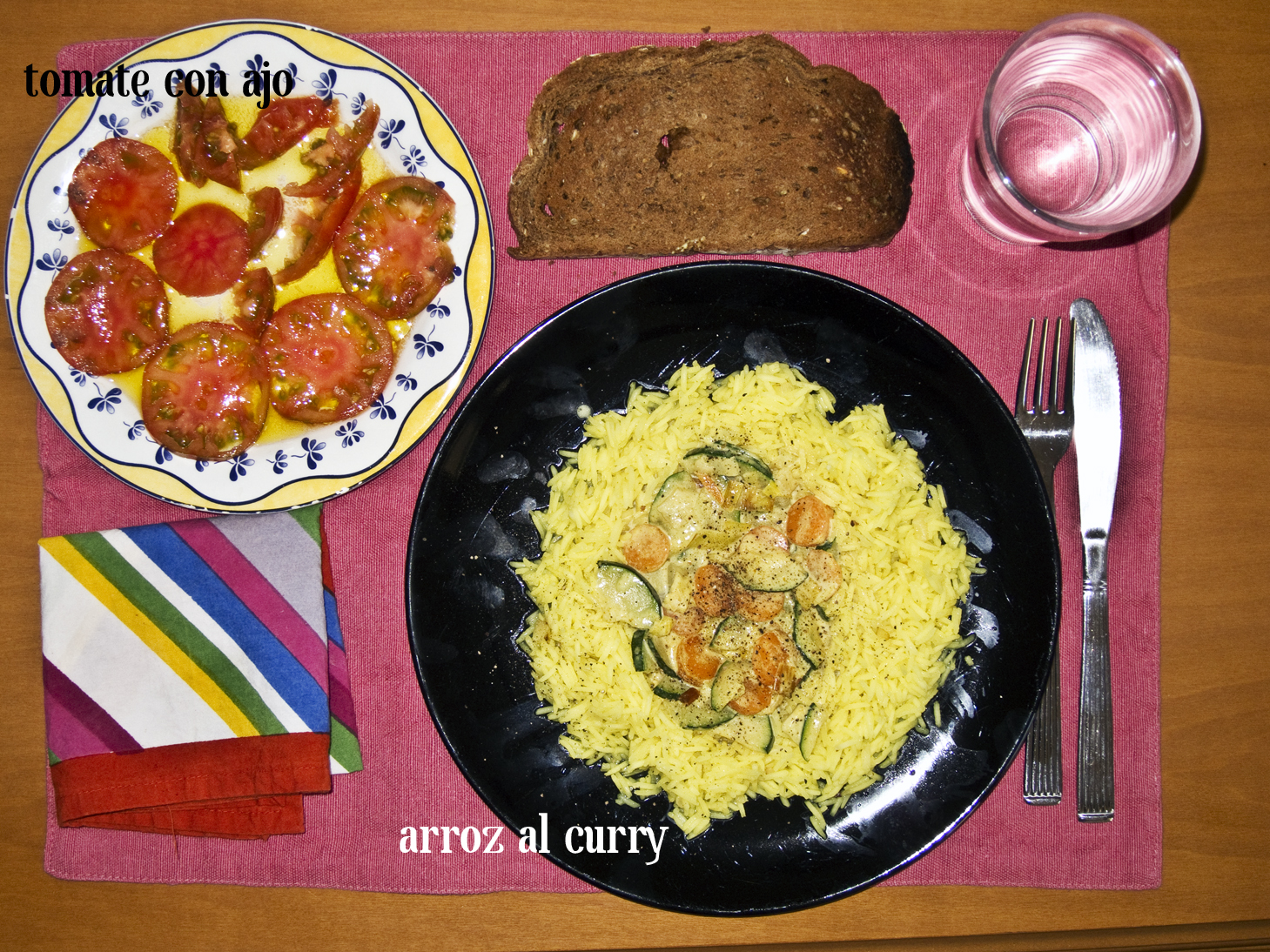Arroz con calabacin al curry