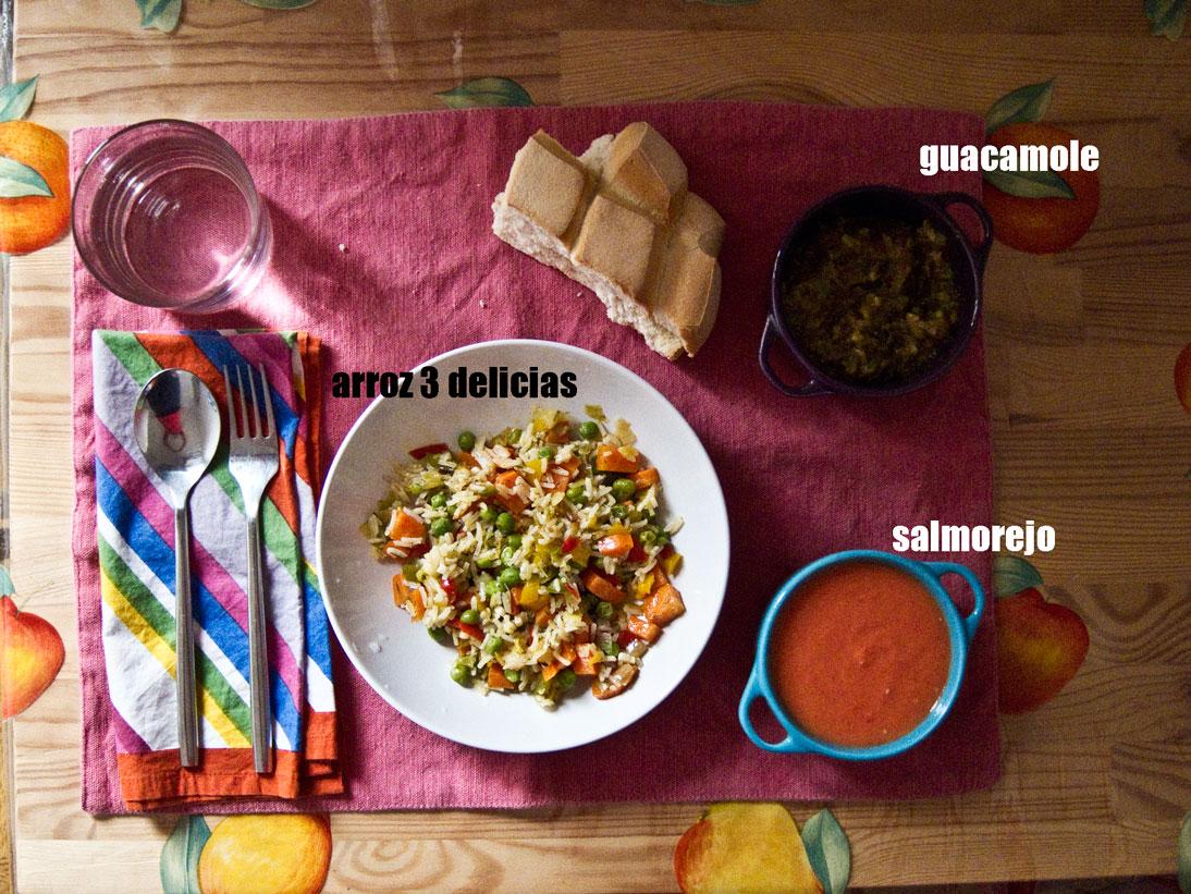 Arroz tres delicias vegetariano